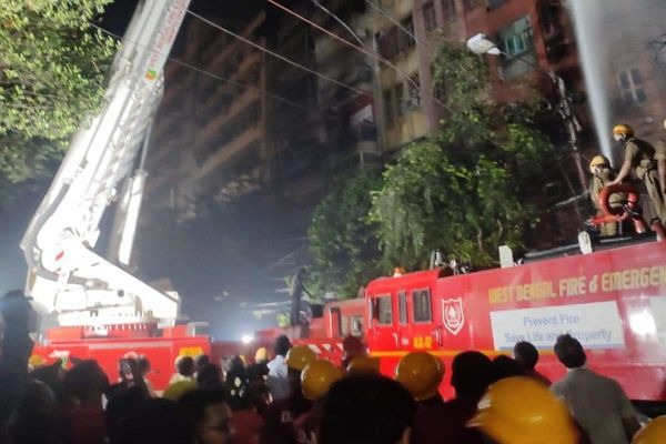 A devastating fire broke out on the ground floor of Ganeshchandra Avenue building