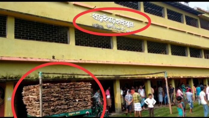 The teacher was caught stealing wood from the school