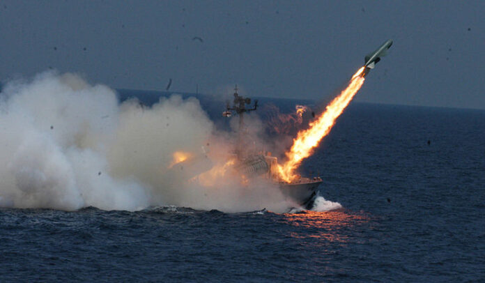 The anti-ship missile launched by Indian Navy Missile Corvette