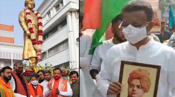 Vivekananda's birthday Shuvendu vs Abhishek high voltage procession!