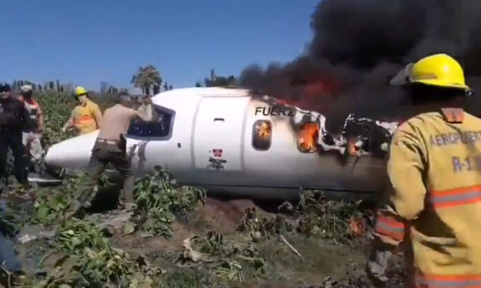 Air force Plane Crashes In Mexico